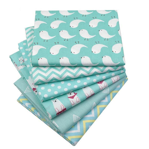 "Fabric Premium- 6 Pieces Polar Animal Teal ""Skinny Quarters""-Sewing By Sarah"