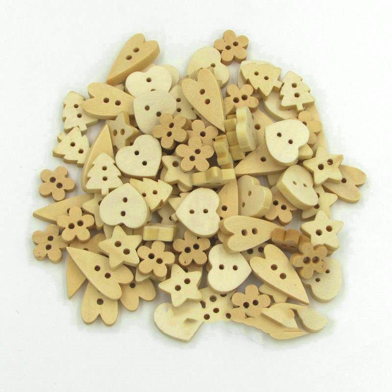 Wooden Buttons - 2 Hole - Assorted Shapes
