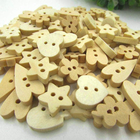 Image of Wooden Buttons - 2 Hole - Assorted Shapes