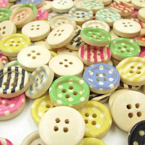 Colorful Wooden Buttons - 150 Pieces