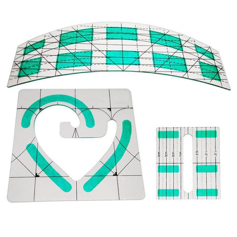 Image of Quilting Ruler/Template Set - 3 Piece Heart/Arc/Patchwork Set-Sewing By Sarah
