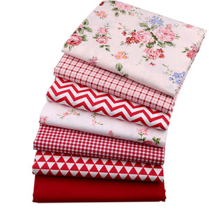 Fabric Premium-Red and White: 7 Piece Fat Quarters