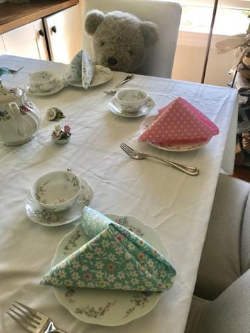 Tea party with napkins