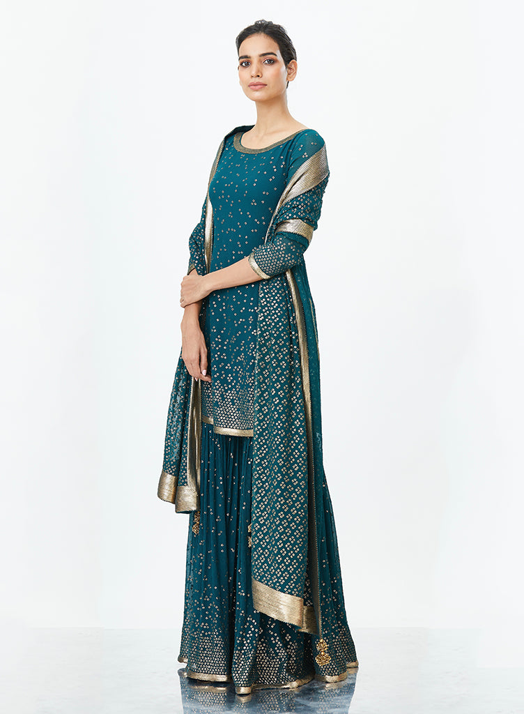Dark Teal Sharara Set - nakulsen