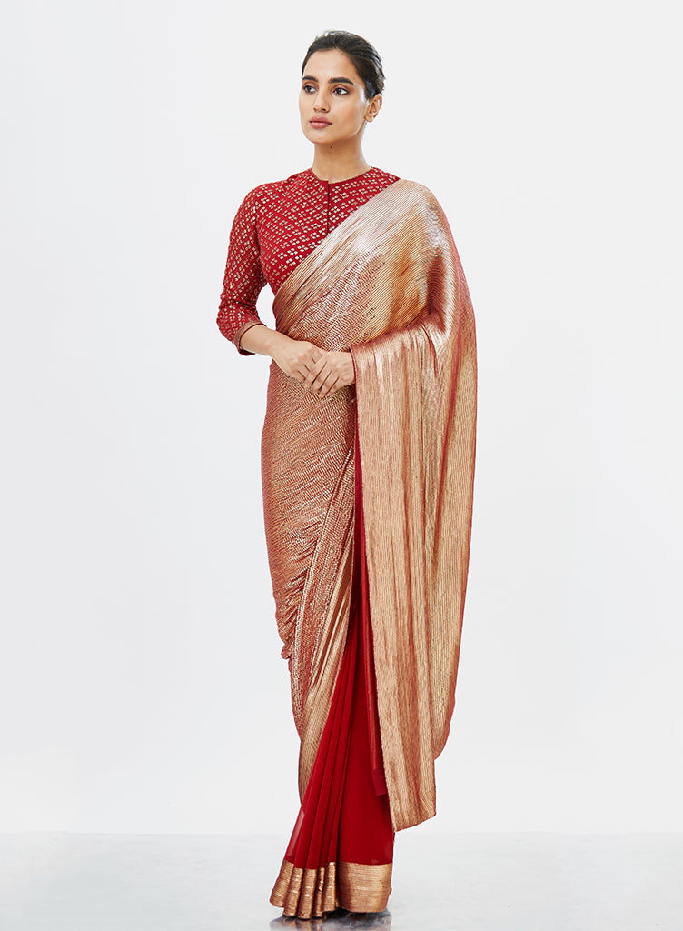 Red & Gold Saree - nakulsen