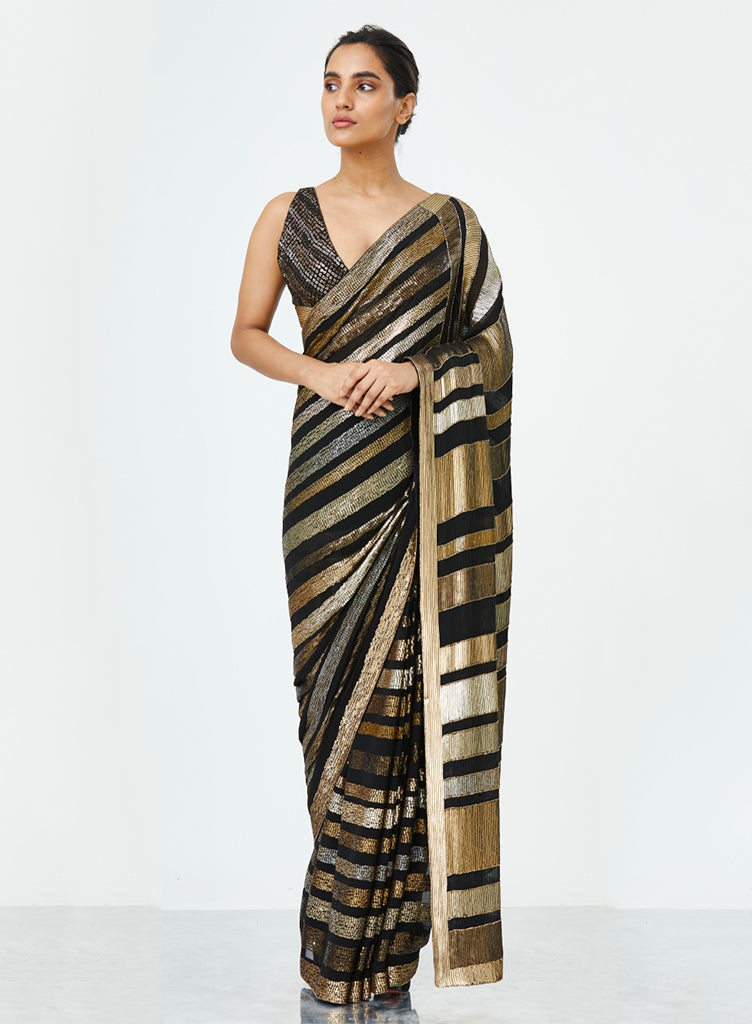 Black Striped Saree - nakulsen