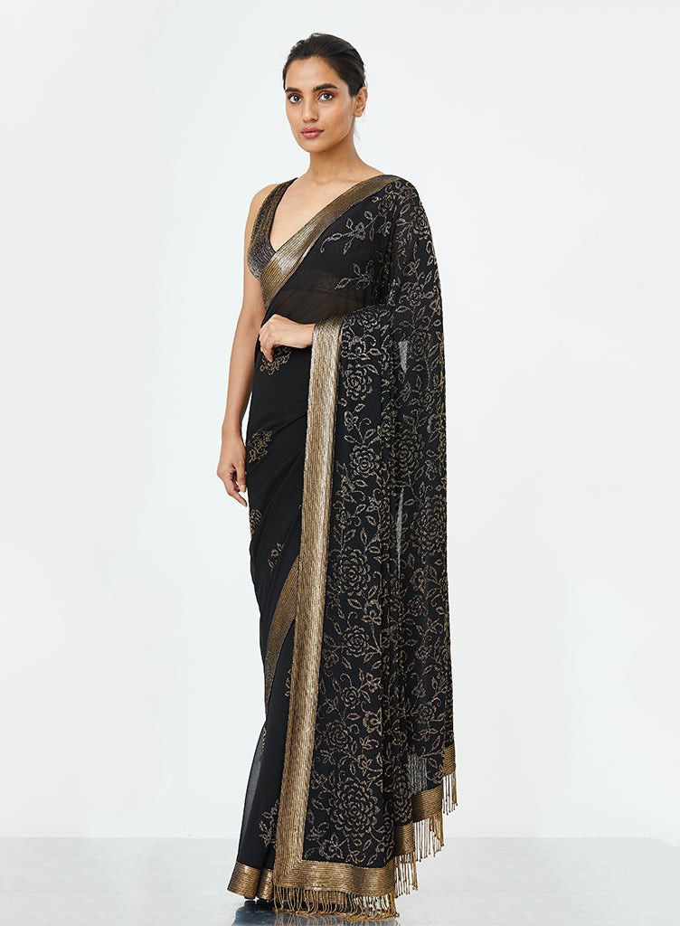 Black Sequinned Saree - nakulsen