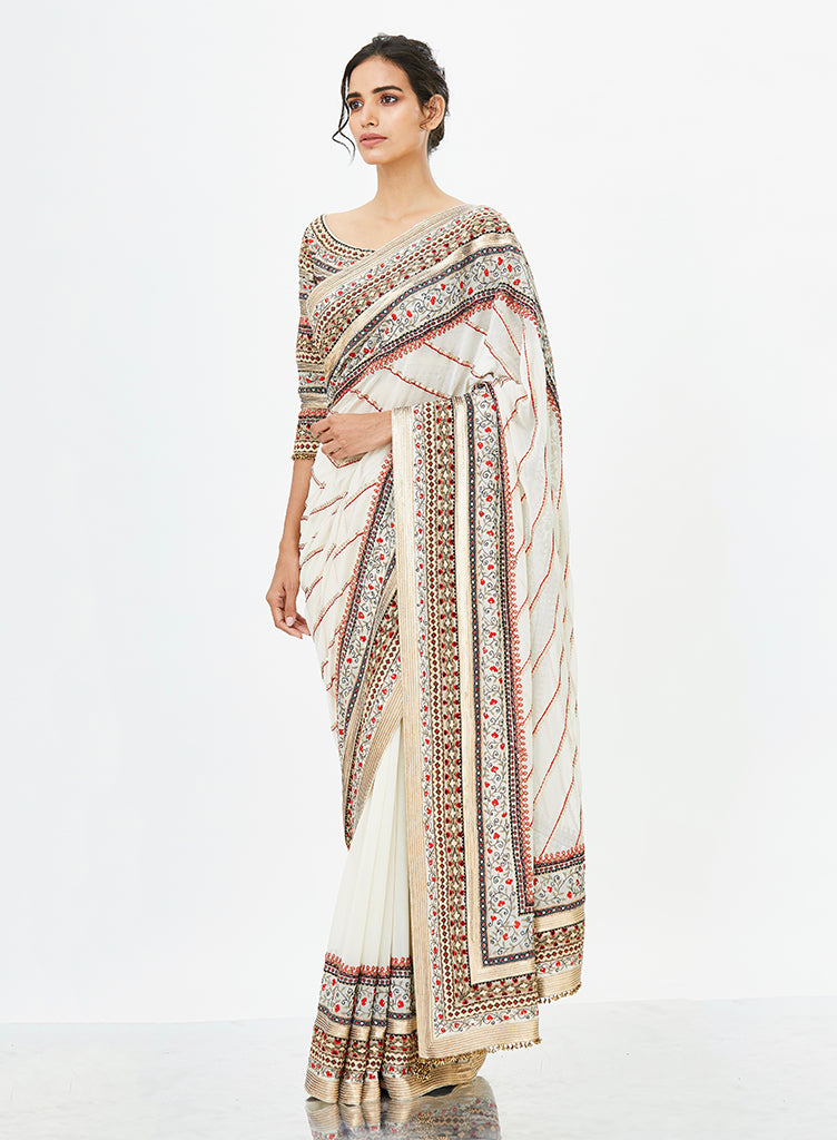 Ivory Tribal Saree - nakulsen