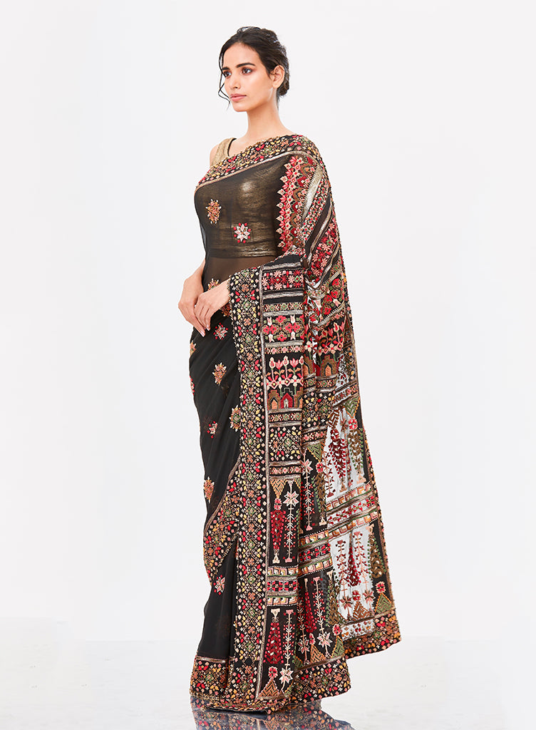 Black Tribal Saree - nakulsen