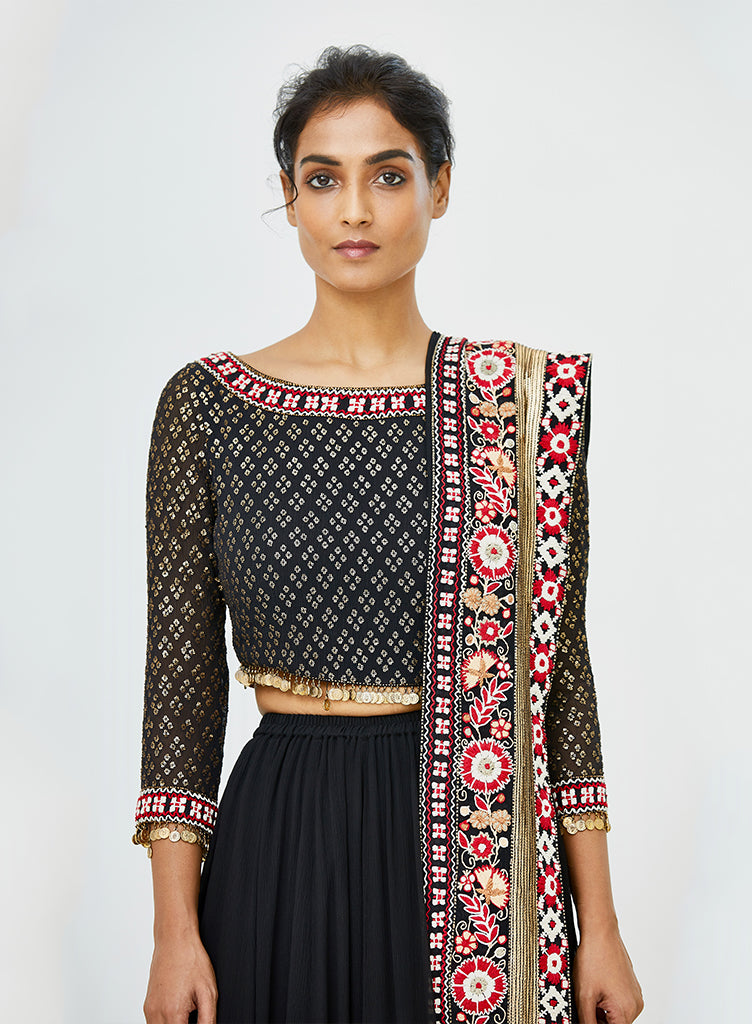 Black Tribal Lehenga - nakulsen