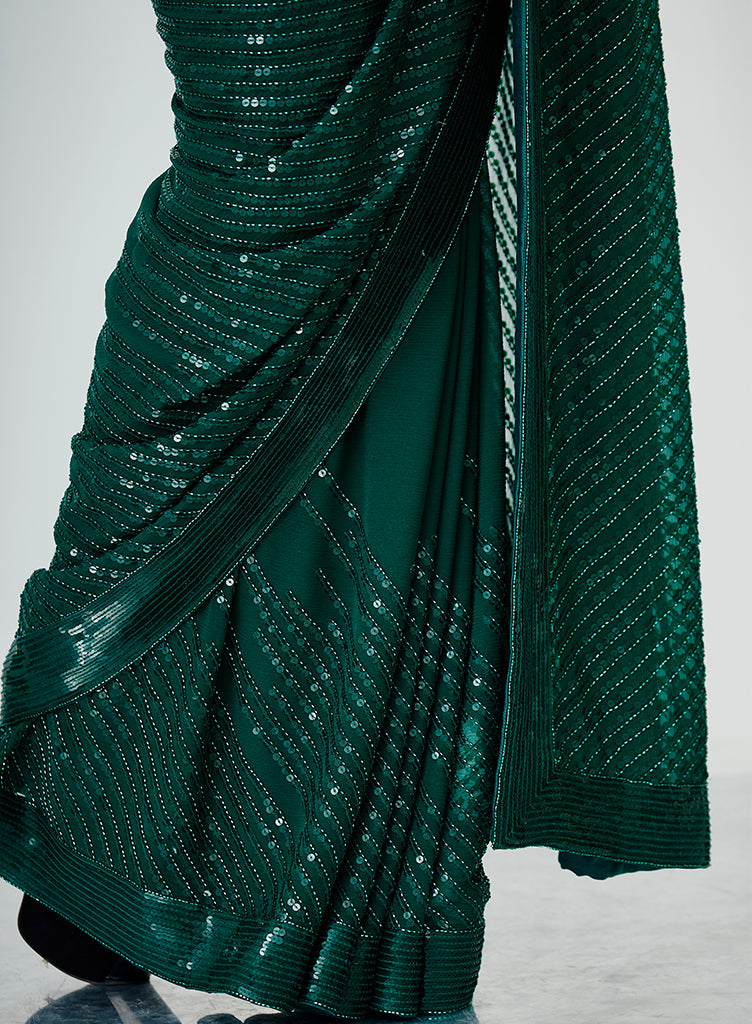 Emerald Sequins Saree - nakulsen