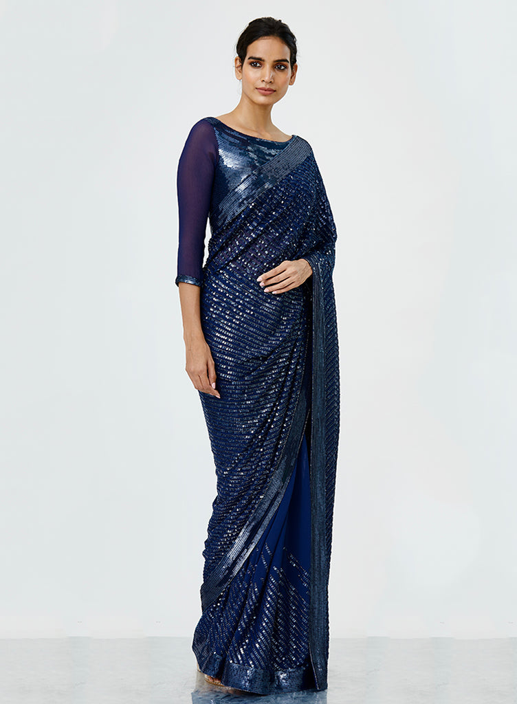 Navy Sequins Saree - nakulsen