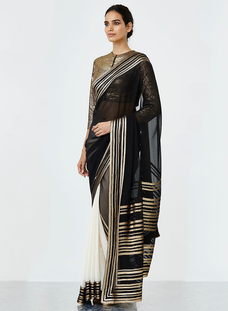 Black & White Saree - nakulsen