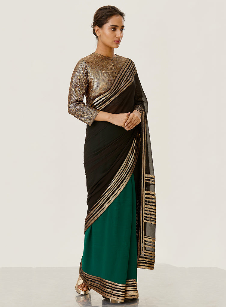Black & Emerald Saree - nakulsen