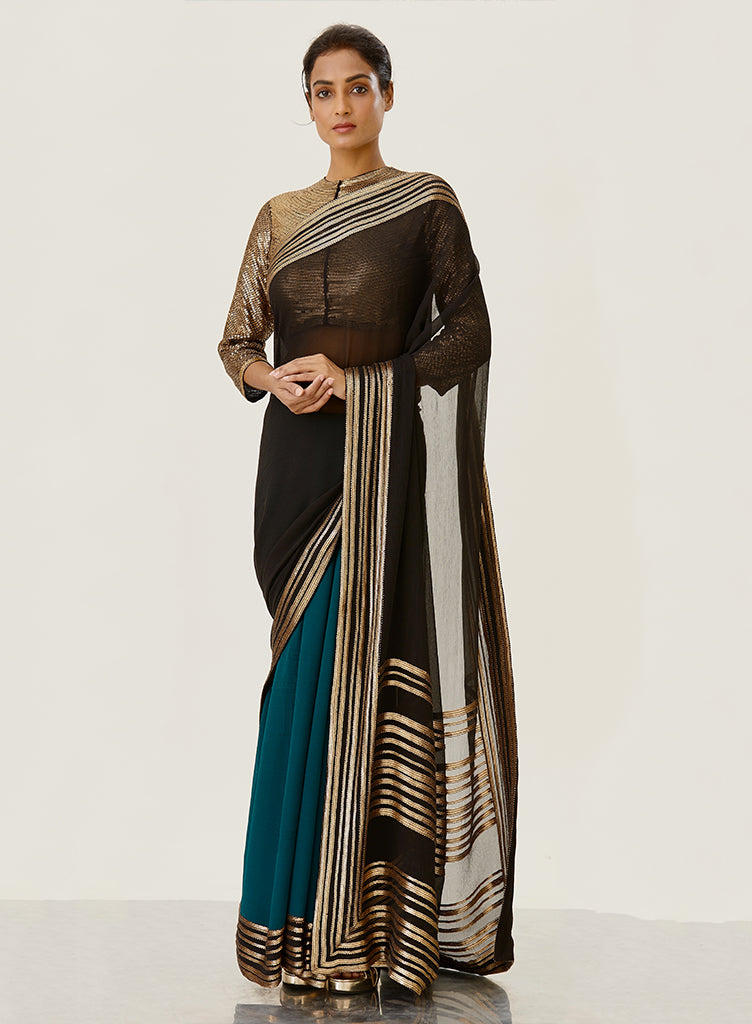 Black & Teal Saree - nakulsen