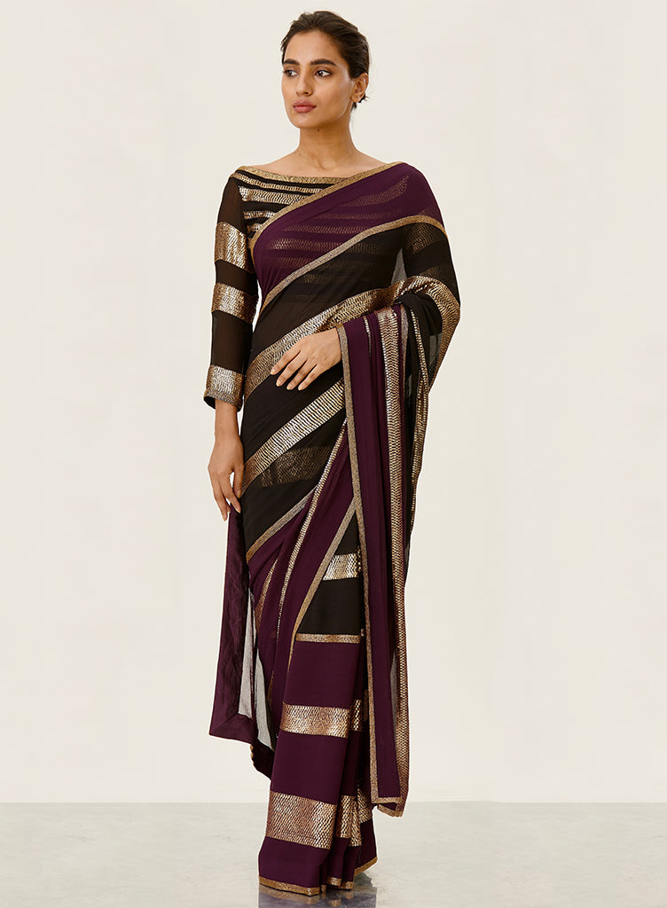 Aubergine Striped Saree - nakulsen