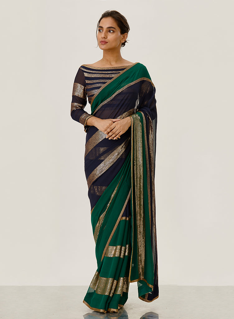 Striped Emerald Saree - nakulsen