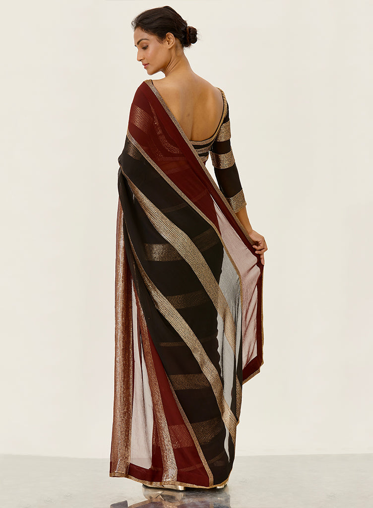 Black & Wine Saree - nakulsen