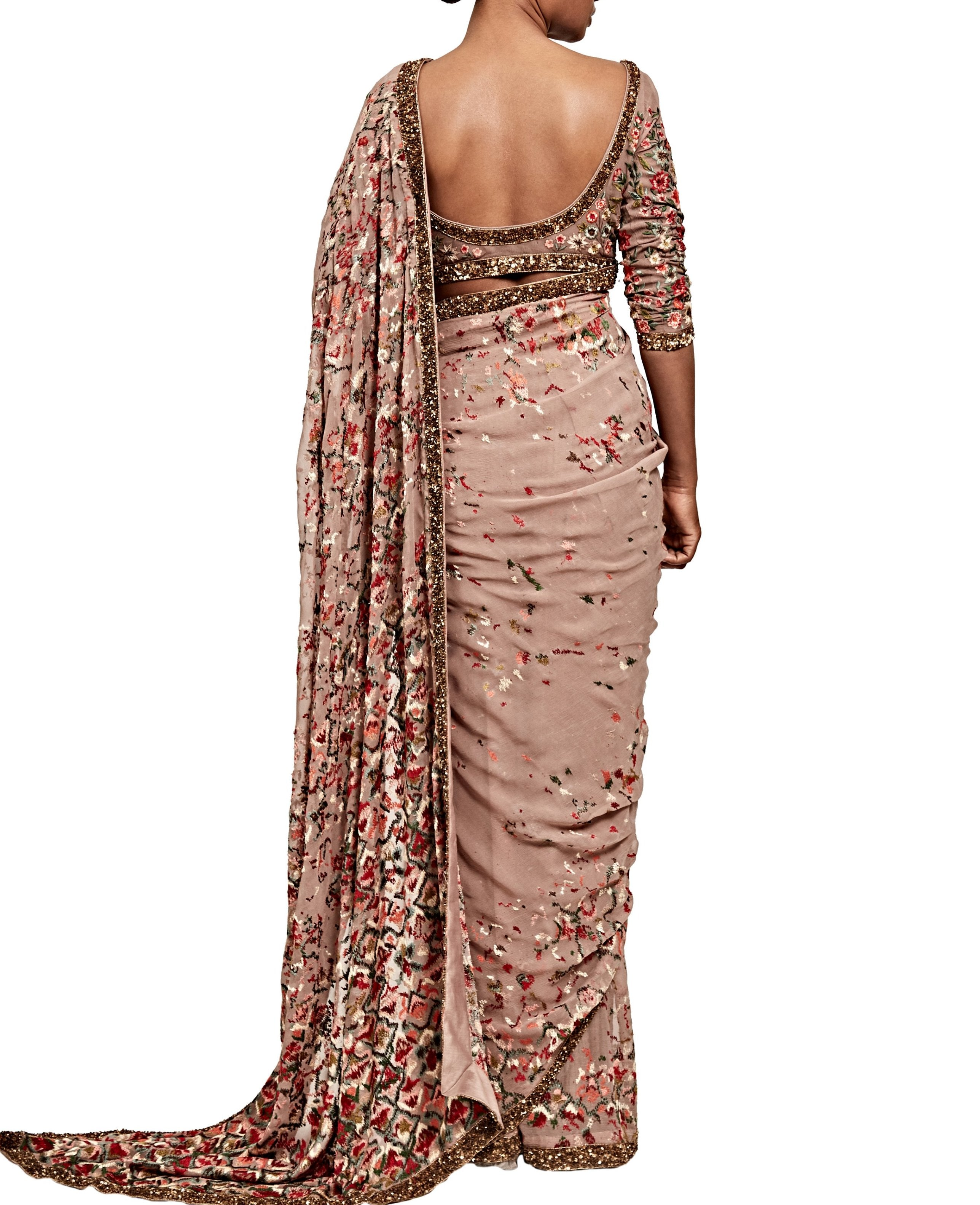 Dusty Rose Saree Set - nakulsen