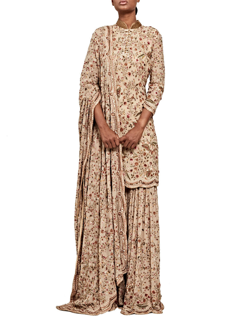 Beige Sharara Set - nakulsen