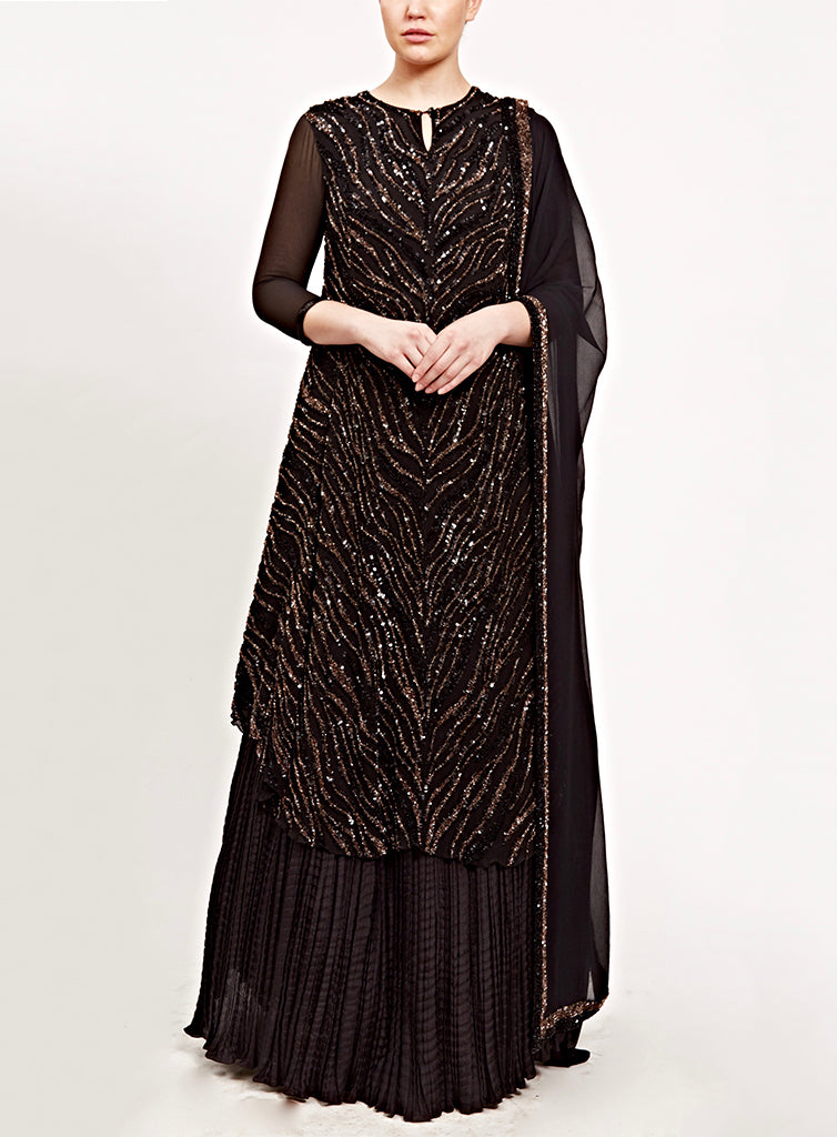 Black & Golden Kurta Set - nakulsen