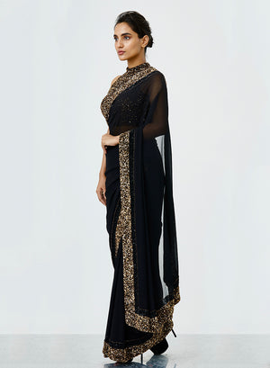 Black Sequins Saree - nakulsen