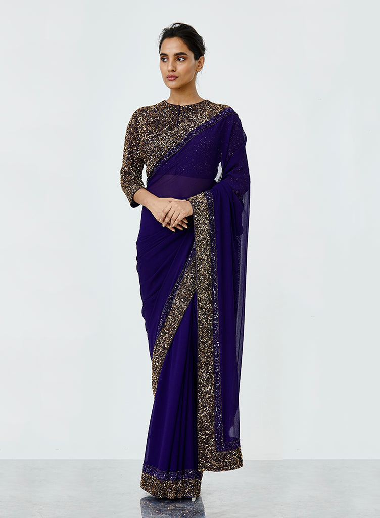 Purple Sequins Saree - nakulsen