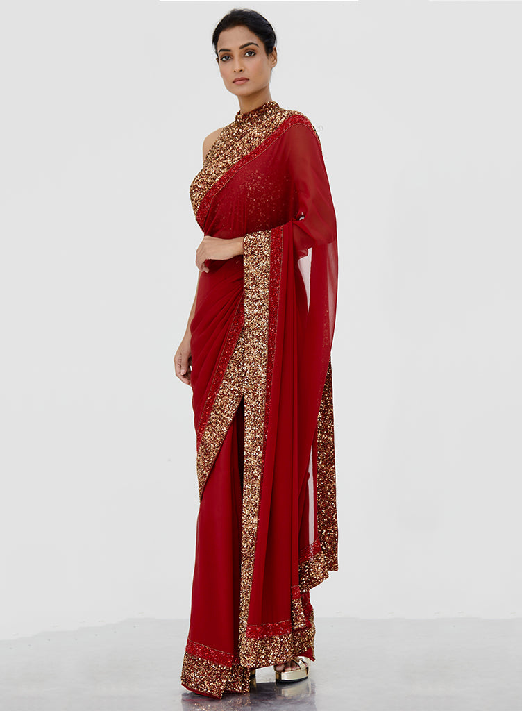 Red Sequins Saree - nakulsen
