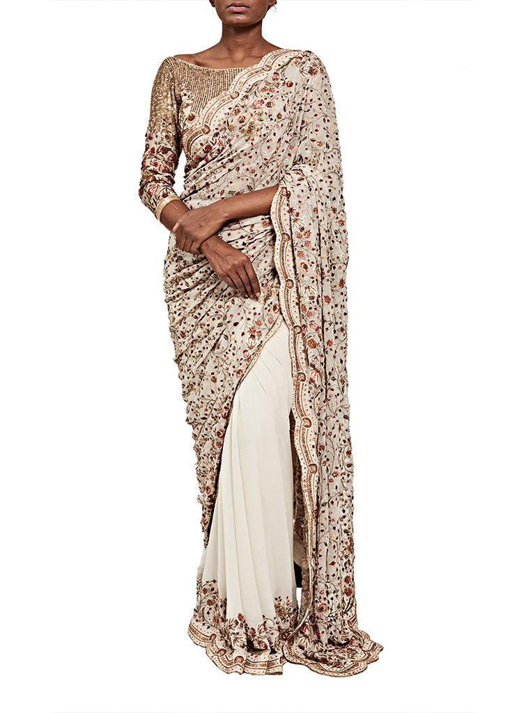 Ivory Jamewar Saree - nakulsen