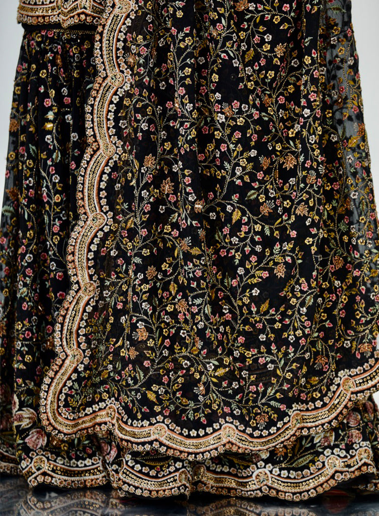 Black Embroidered Sharara - nakulsen