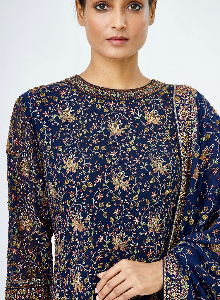 Navy Embroidered Sharara - nakulsen