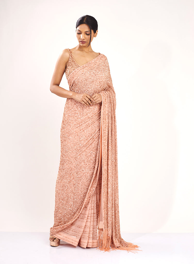 Blush Sequins Saree - nakulsen