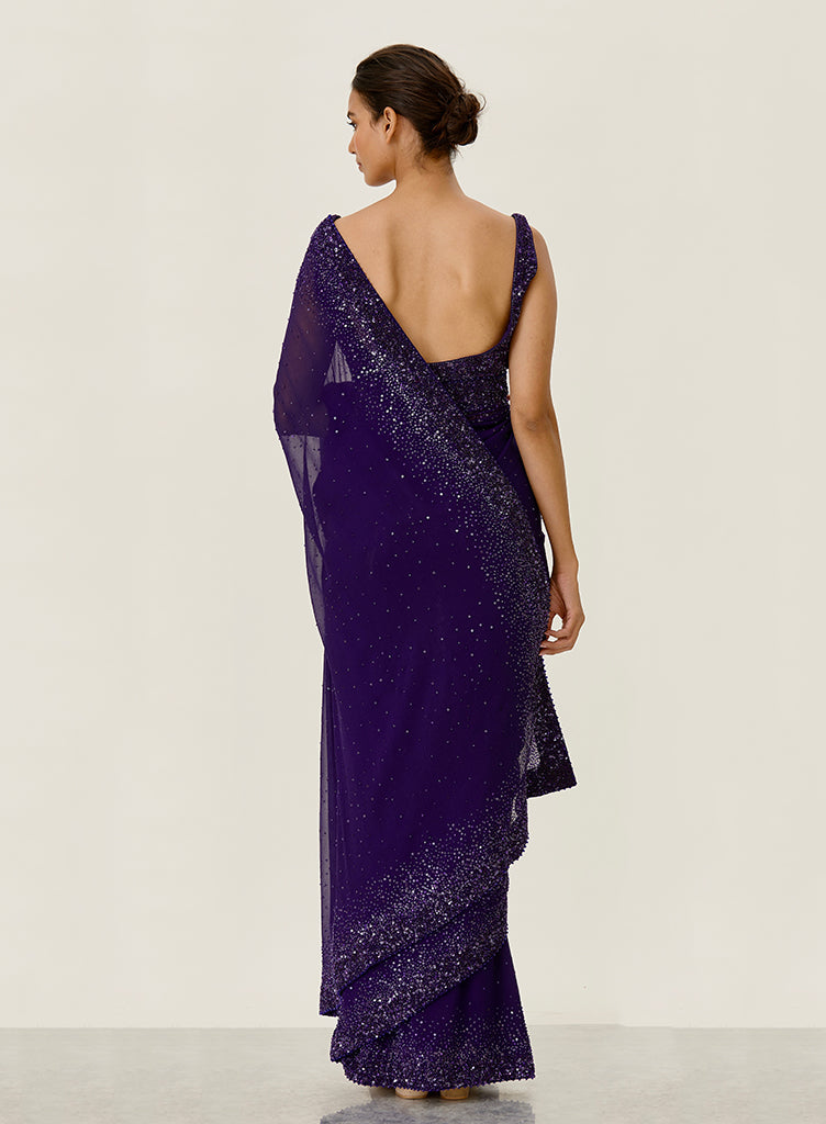 Purple Chiffon Saree - nakulsen