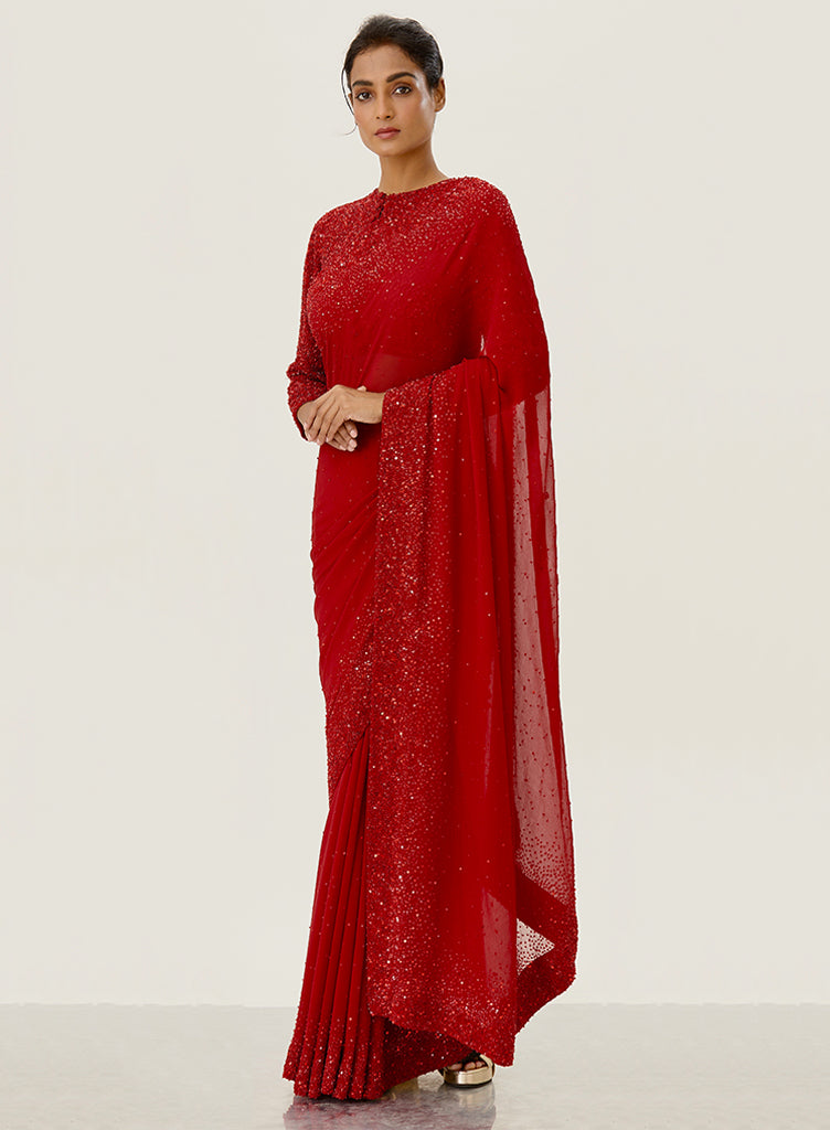 Red Chiffon Saree - nakulsen
