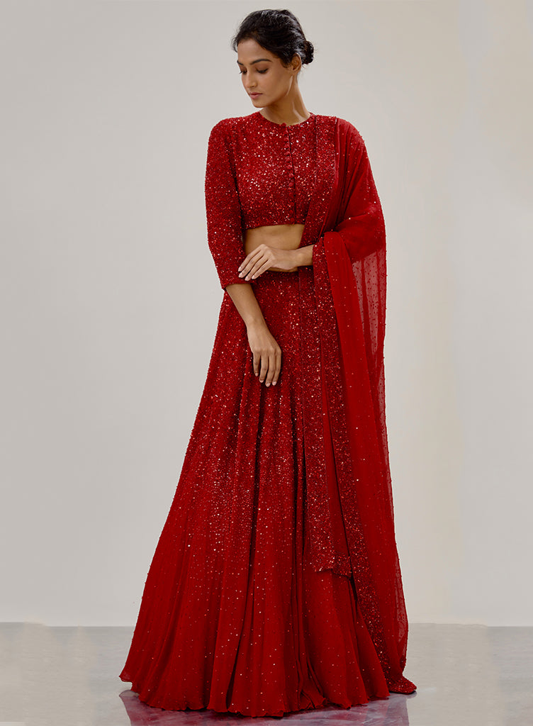 Red Sequin Lehenga - nakulsen
