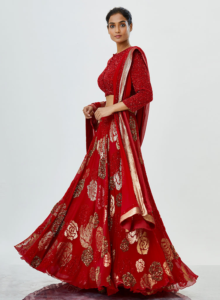 Red Rose Lehenga - nakulsen