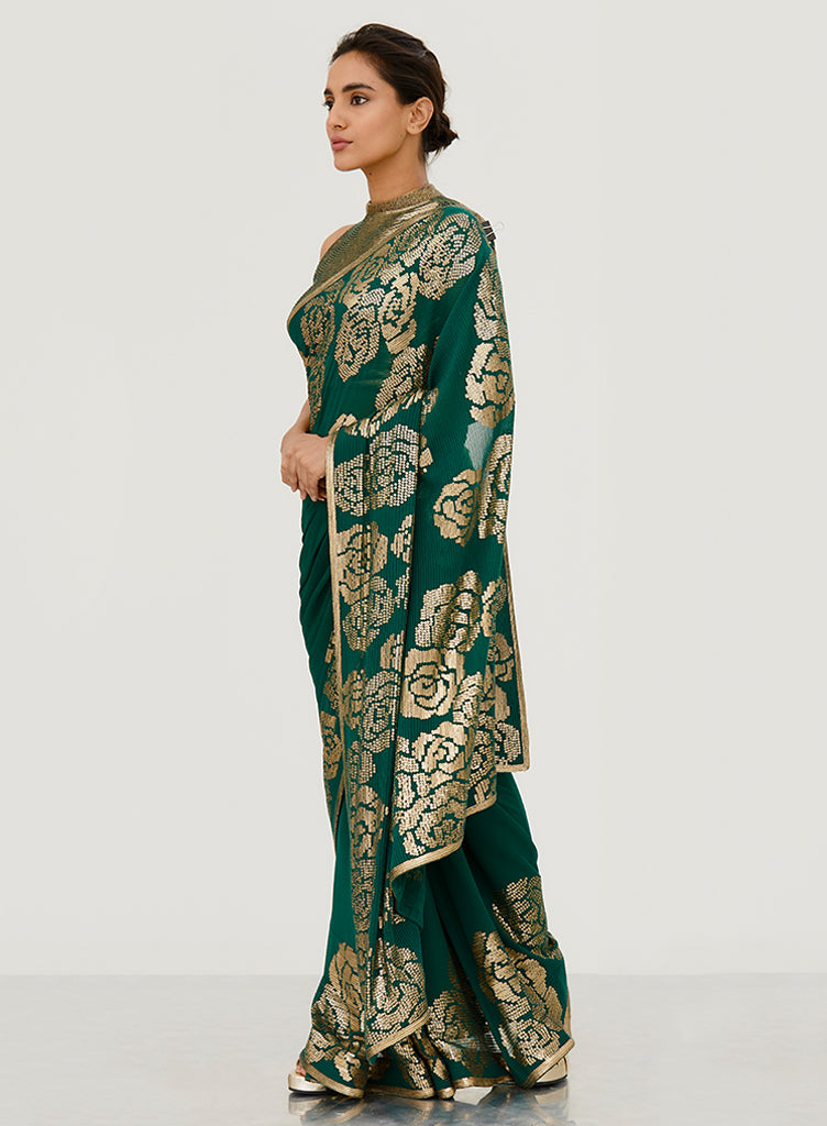 Emerald Rose Saree - nakulsen