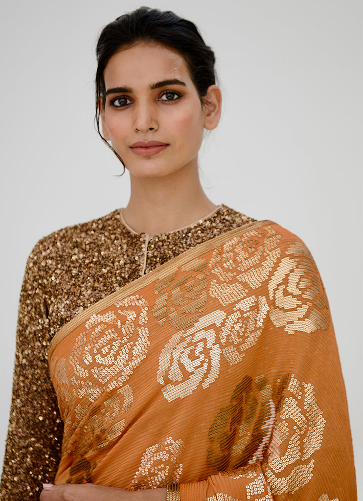 Orange Rose Saree - nakulsen