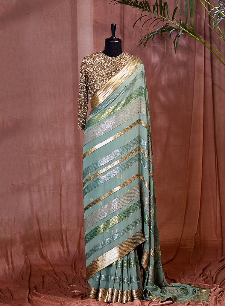 Pista Green Saree Set - nakulsen