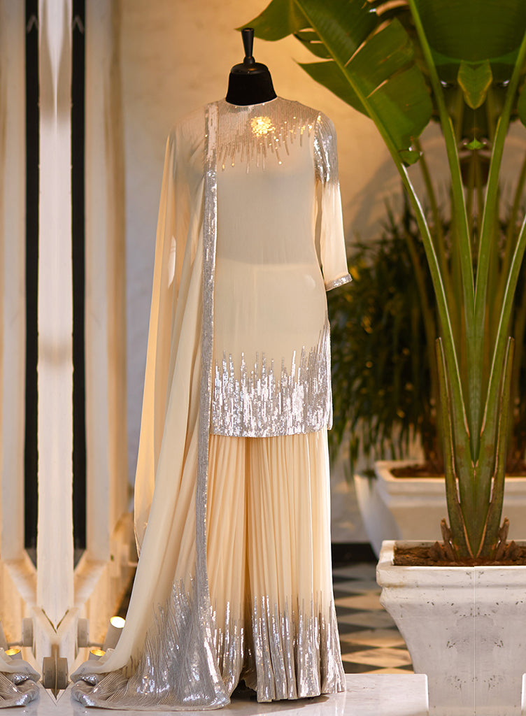Ivory Sequinned Sharara - nakulsen