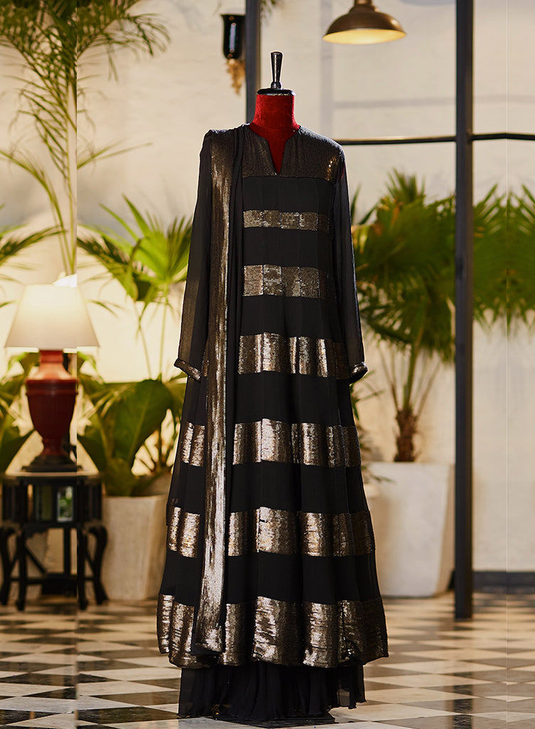 Striped Black Anarkali Kurta - nakulsen