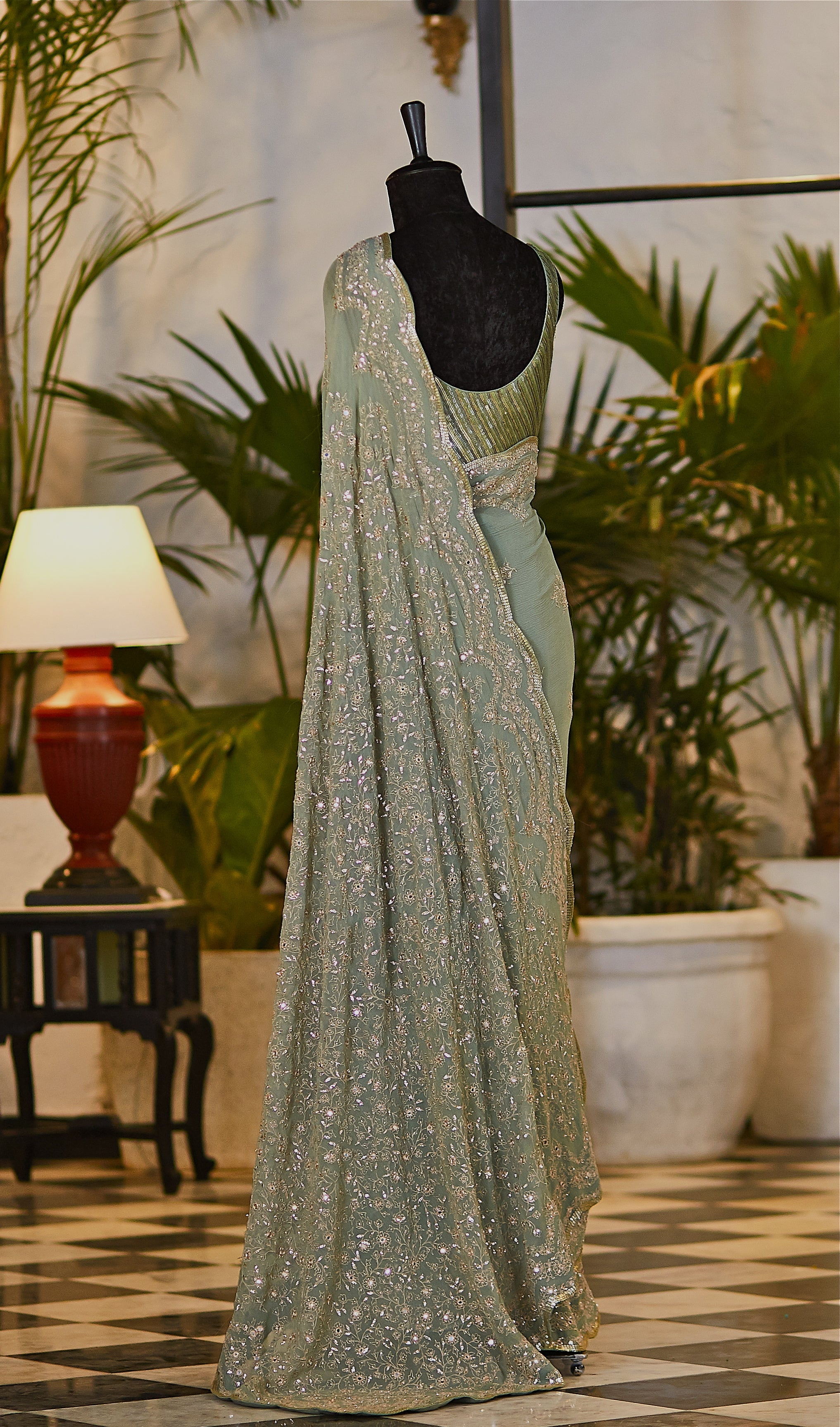 Pista Green Saree - nakulsen