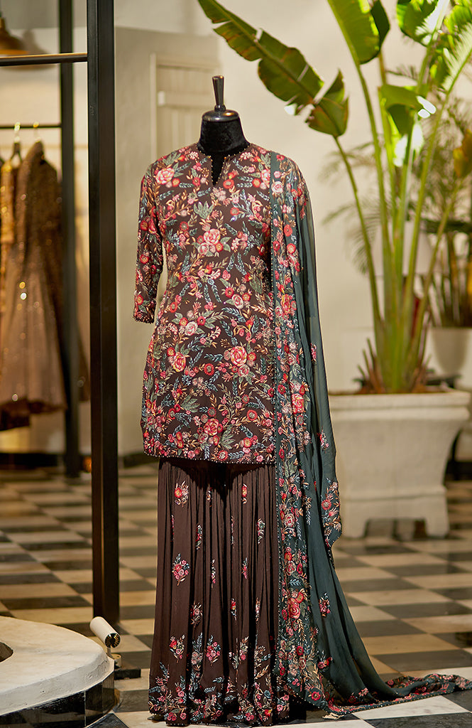 Overall Embroidered Sharara - nakulsen