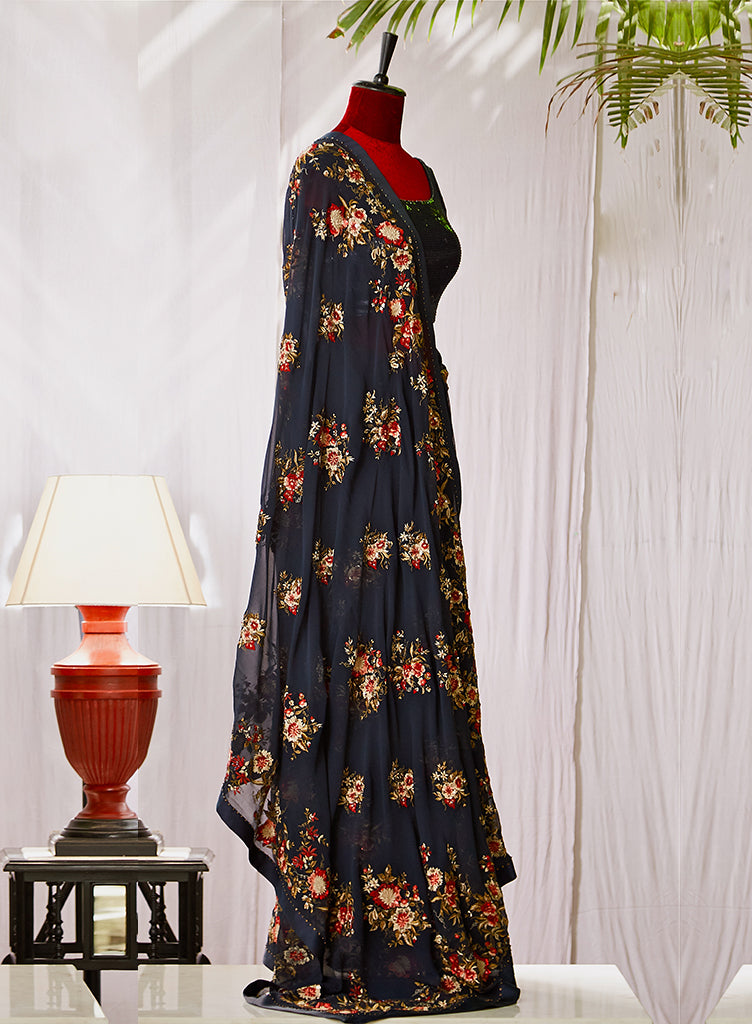 Midnight Blue Saree - nakulsen