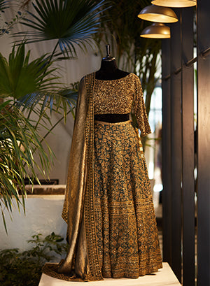 Green & Gold Lehenga With Gold Studded Details