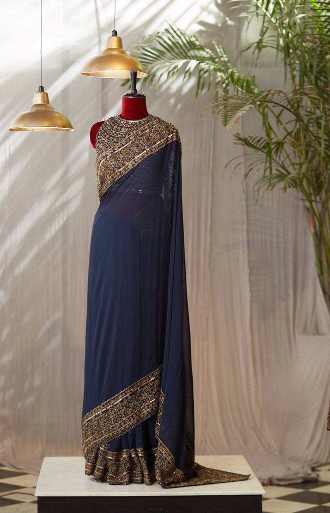 Midnight Blue Saree With Studded Blouse