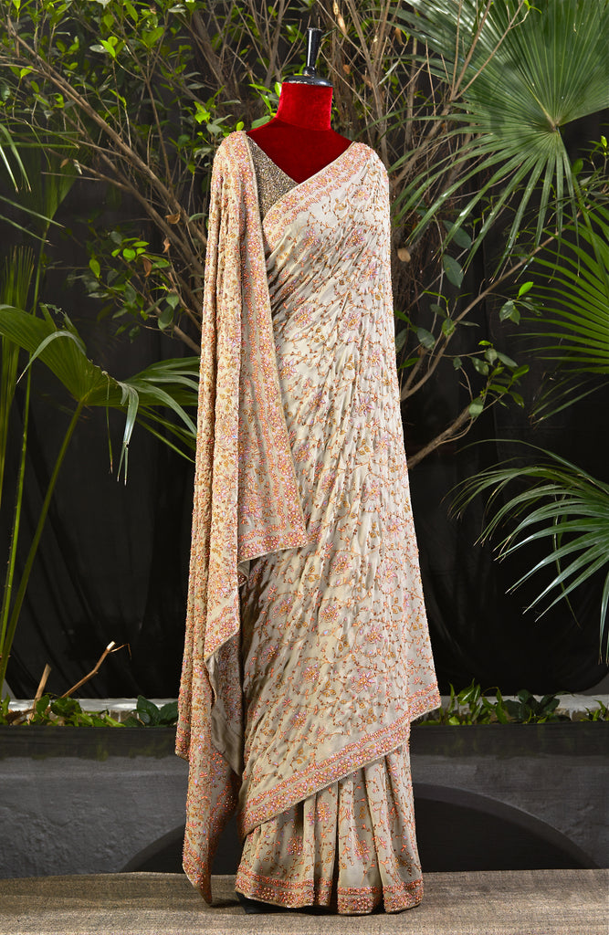 Kashmiri Light Mouse Saree - nakulsen