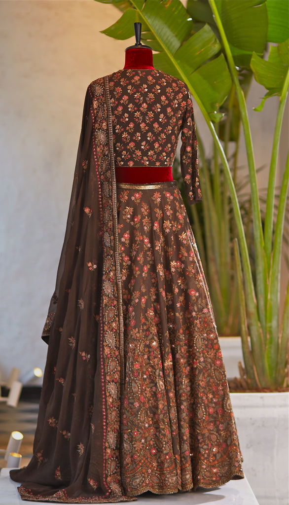 Brown Embroidered Lehenga - nakulsen