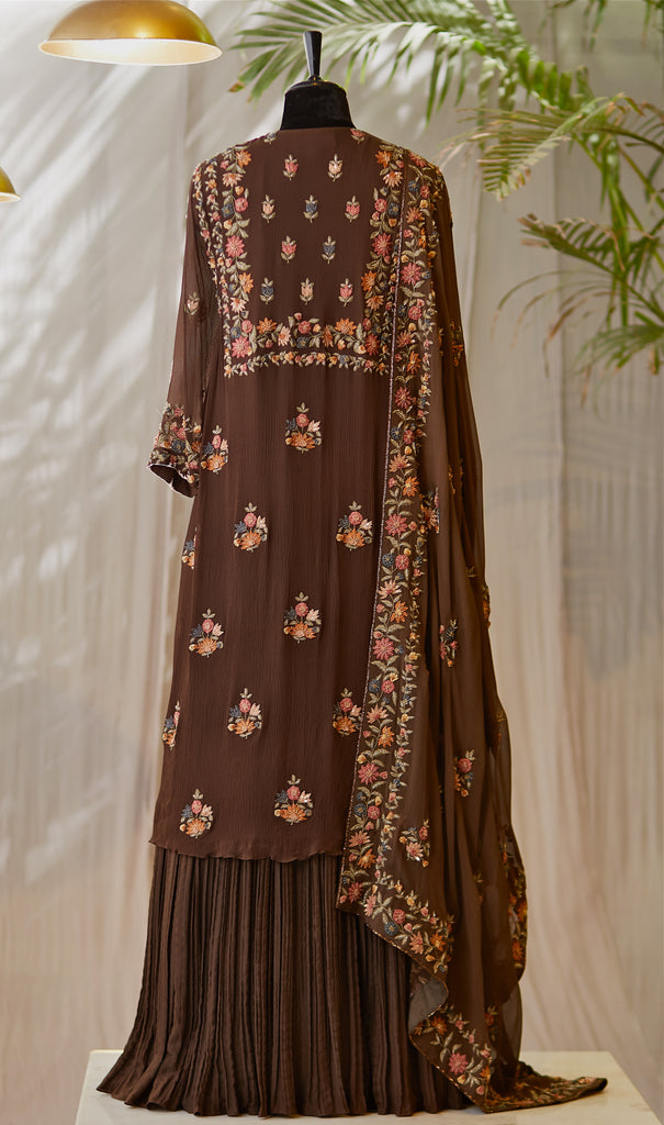 Coffee Embroidered Kurta - nakulsen