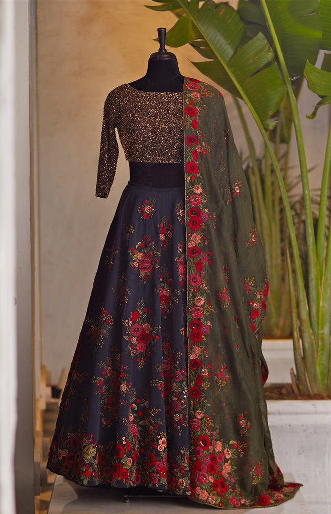 Midnight Blue Lehenga - nakulsen